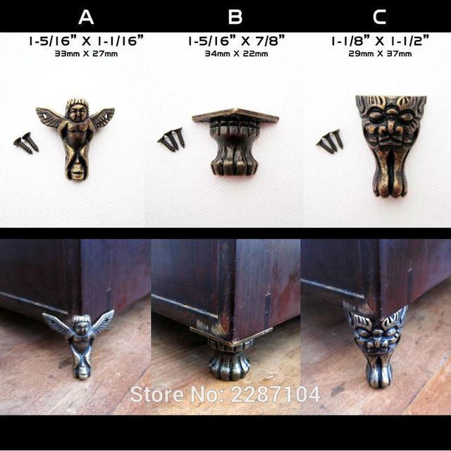 4pcs Decorative Antique Brass Vintage Angel Face Cheetah Jewelry Chest Box Wood Furniture Feet Leg Corner