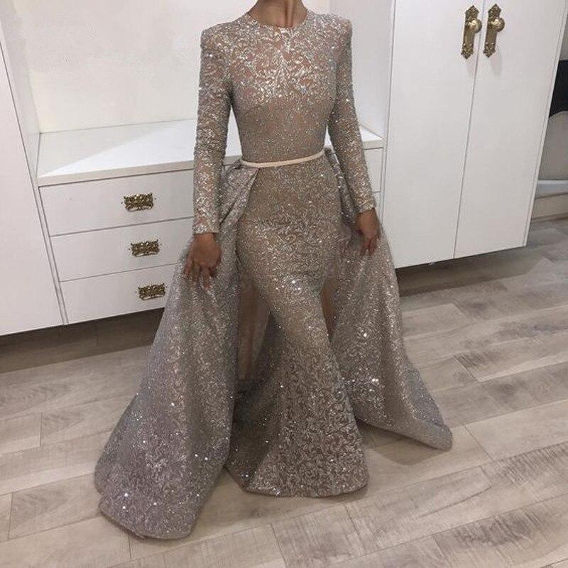 Gray Muslim Evening Dresses 2018 Mermaid Long Sleeves Lace Beaded