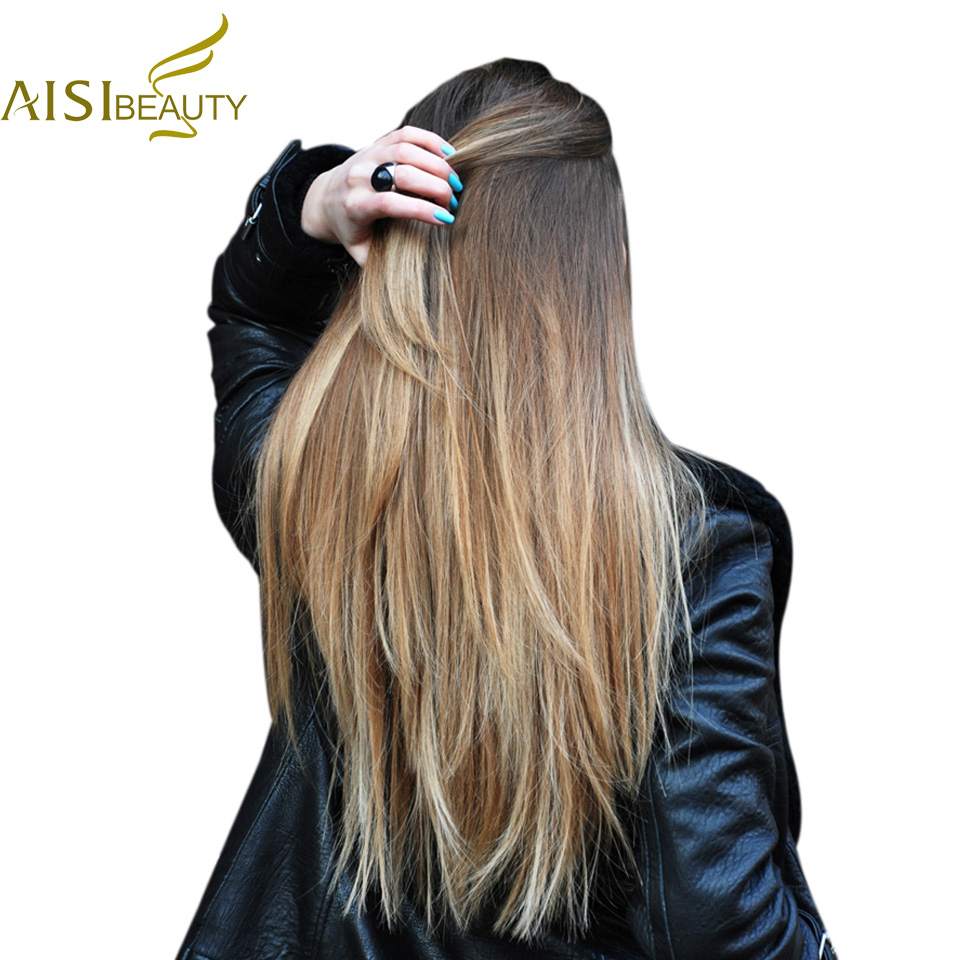 AISI BEAUTY Long Straight Synthetic Black Brown Hairpiece 11 clips hair Extensions for Women 13 colors Heat Resistant