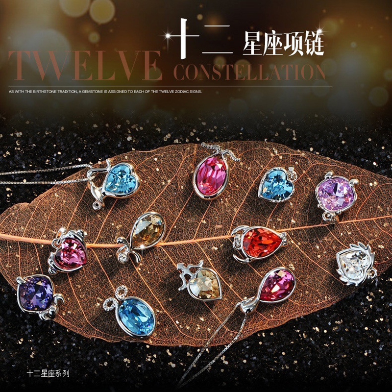 12 Constellations Necklace 12 Zodiac Signs Austrian Crystal Pendant Necklace Jewelry Birthday Day Gift for Girls skull necklace raven skull