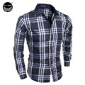 Men Shirt 2016 Fashion Men'S Long-Sleeved Shirt Male Irregular Stripes Brand Camisa Masculina Casual Slim Male ShirtsLSDKWBMS