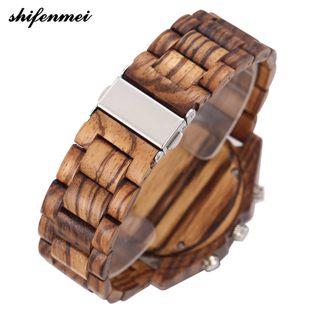 top luxury brand Shifenmei 2139 Antique Mens Zebra and Ebony Wood Watches with Double Display Business Watch in Wooden digital quartz watch drop shipping (25)