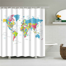 Educational World Map Bathroom Curtain Eco-friendly Polyester Waterproof Shower Curtains 150*180/180*180/180*200cm Bath