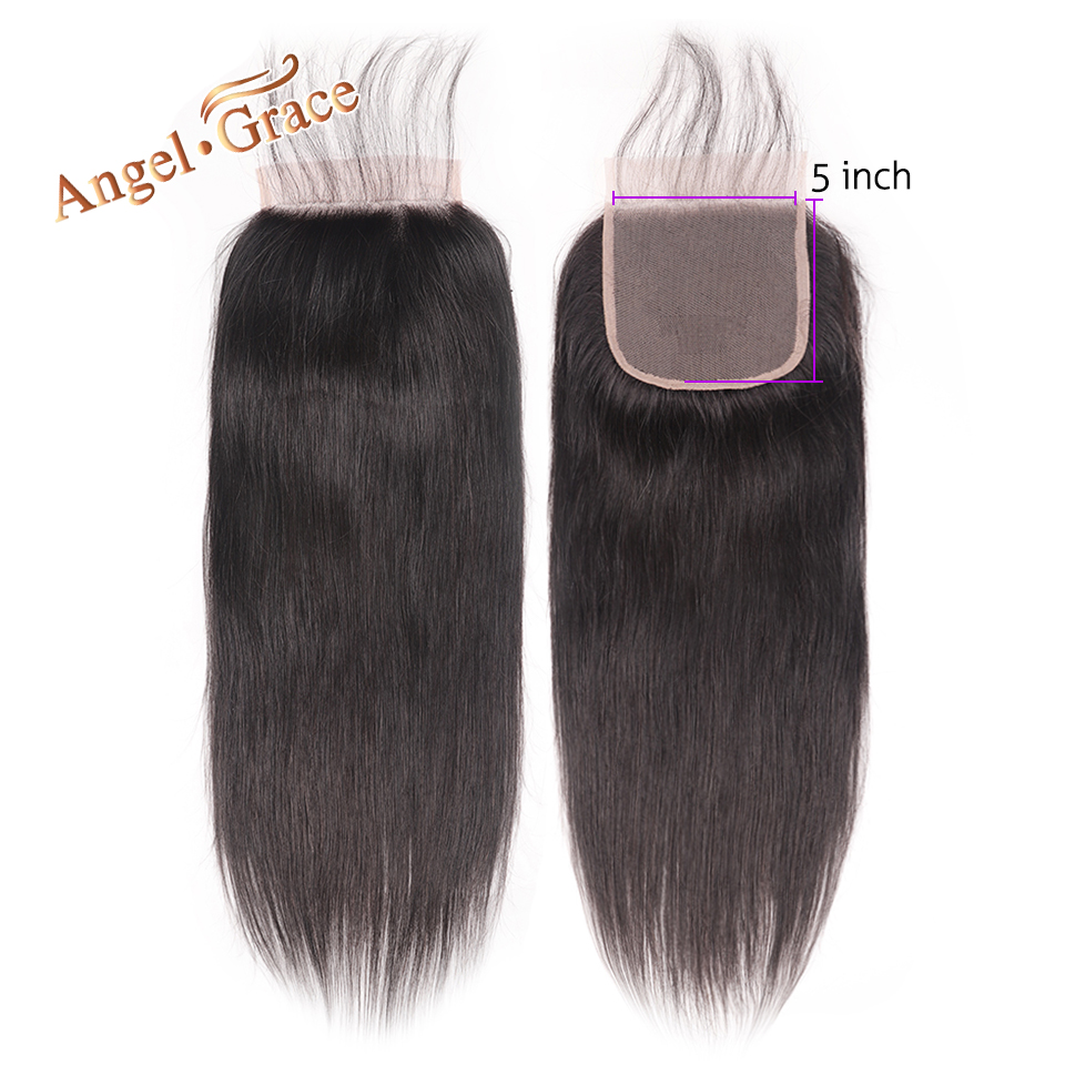 Angel Grace Hair 5x5 Straight Lace Closure Free Middle Part Human Hair Natural Color Brazilian Remy