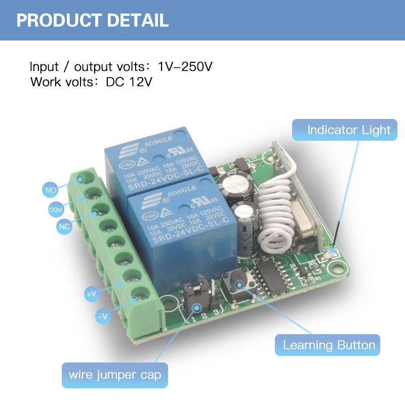 433MHz Universal Remote Control DC12V 10A 2CH rf Relay Receiver and Transmitter for Universal Garage and gate Control