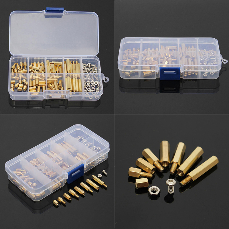 120Pcs M3 Male Female Standoff M3 Spacer Screw Nuts PCB Board Hex Screws Nut Assortments For Hardware Tools thgs 120pcs m3 male female brass standoff spacer pcb board hex screws nut assortment