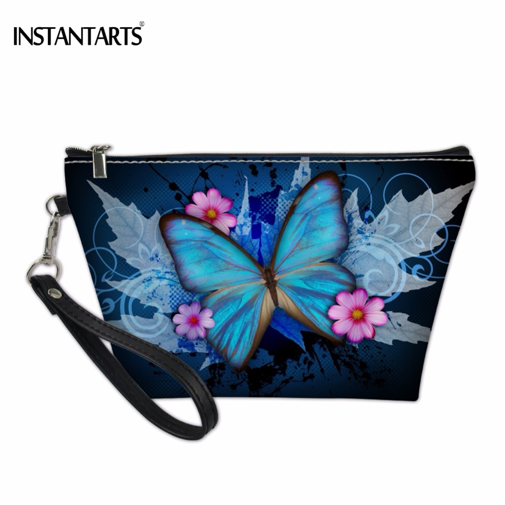 INSTANTARTS Blue Butterfly Print Woman Makeup Bags Fashion Brand Lady Cosmetic Cases Travel Necessaries Organizer Toiletry Bag