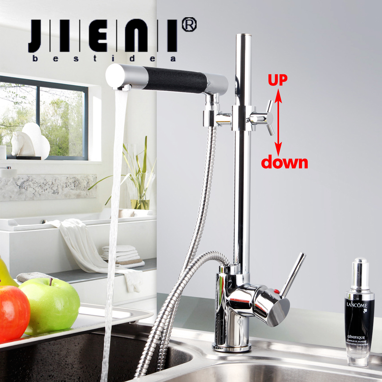 Pull Down Kitchen Faucet Polished Chrome Deck Mount One Hole / Handle Mixer Tap Mixer Taps Dual Handle  JN92350 deck mount single handle kitchen faucet one handle chrome brass kitchen sink mixer tap dual sprayer functions