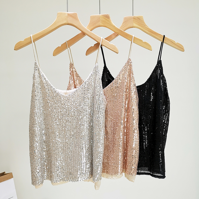 2019 Fashion Summer Sequined   Tops   Camisole Cami Women Sexy Club   Tank     Tops   Female Streetwear underwear women haut femme