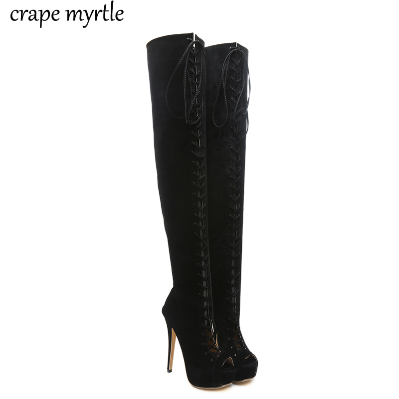 Women Thigh High Boots Over The Knee Boots Platform Cut-outs Cross-starp High Heels shoes Peep Toe heels Female Shoes YMA308