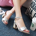 Lady's Buckle Strap Med Square Heel OL Sandalias Plus size 34-48 Peep Toe Single Thick Heel Pumps Imitation Real Leather PU Gold