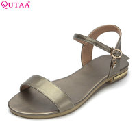 QUTAA 2018 Women Sandals Cow Leather Pu Fashion Women Shoes Platform Buckle Casual Low Heel Black