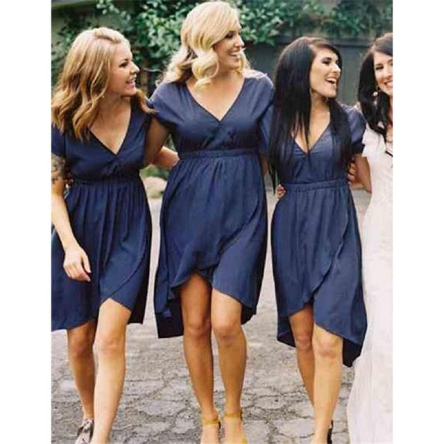 2017 New Spring Summer A Line Deep V Neck Short Sleeves Knee Length Chiffon  Plus Size Navy Blue Bridesmaid Dress Plus size 190057e96