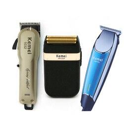 Kemei máquina de cortar cabelo elétrica profissional recarregável sem fio aparador de pêlos barba barbeador máquina de corte de cabelo barbeiro