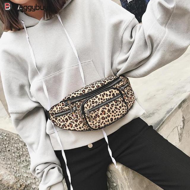2018 Women Leopard Print Waist Fanny Packs Girls Waist Bag Female Fashion Chain Ladies Belt Bag