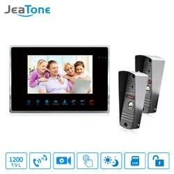 JeaTone Новый 7 дюймов Сенсорная Кнопка видео дверь домофон 1 монитор + 1200TVL COMS Камера для дома