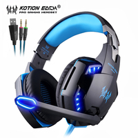 KOTION EACH Gaming Headset Stereo Game Headphones Deep Bass Earphone With LED Light Microphone Mic For