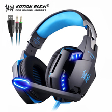 KOTION EACH Gaming Headset Stereo Game Headphones Deep Bass Earphone with LED light Microphone Mic for PC Laptop Xbox PS4 professional gaming headphones black stereo headset headband earphone with mic led light for pc laptop