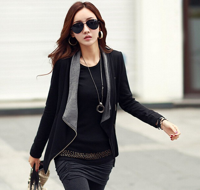 2016 Höst New Women Long Sleeve Casual Jacket Coat Koreanska Style Slim Winter Zipper Outwear Jackor