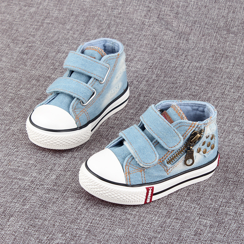 Autumn Spring Children Canvas Shoes Kids Baby Sneaker Fashion Wave Point Bow Baby Girls High Top