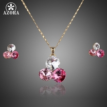 AZORA Gold Color Stellux Austrian Crystal Water Drop Stud Earrings and Necklace Set TG0020
