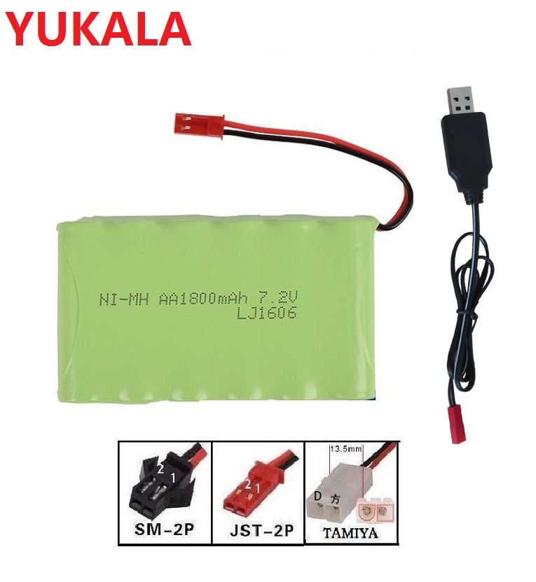 <font><b>7.2v</b></font> 1800mah NI-MH rechargeable AA Battery upgrade Battery +usb charger for RC car ship robot RC truck JST/<font><b>TAMIYA</b></font>/SM-2P plus image