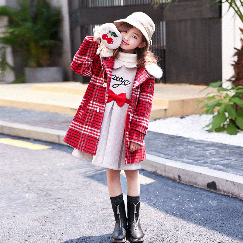 2018 winter clothing sets kids red girls wool coats +dresses 2 pieces