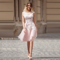 Short Pink Lace Cocktail Dresses with White Applique Cheap Prom Party Dress