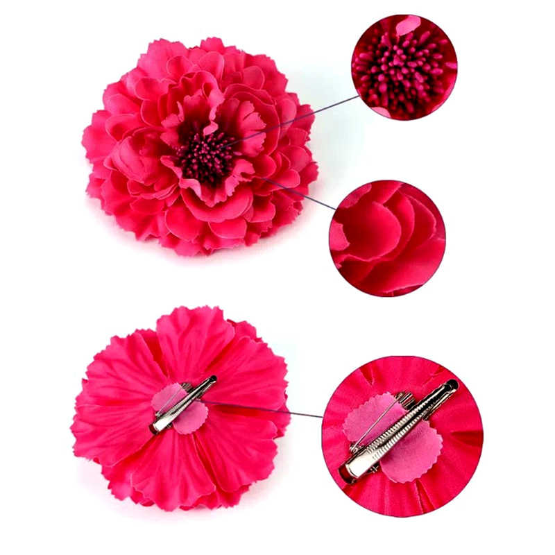 Hot Sale Vacation Beach Boho Corsage Peony Flower Hairpins Brooch Pins Headwear Charming  Wedding Decoration Hair Clip