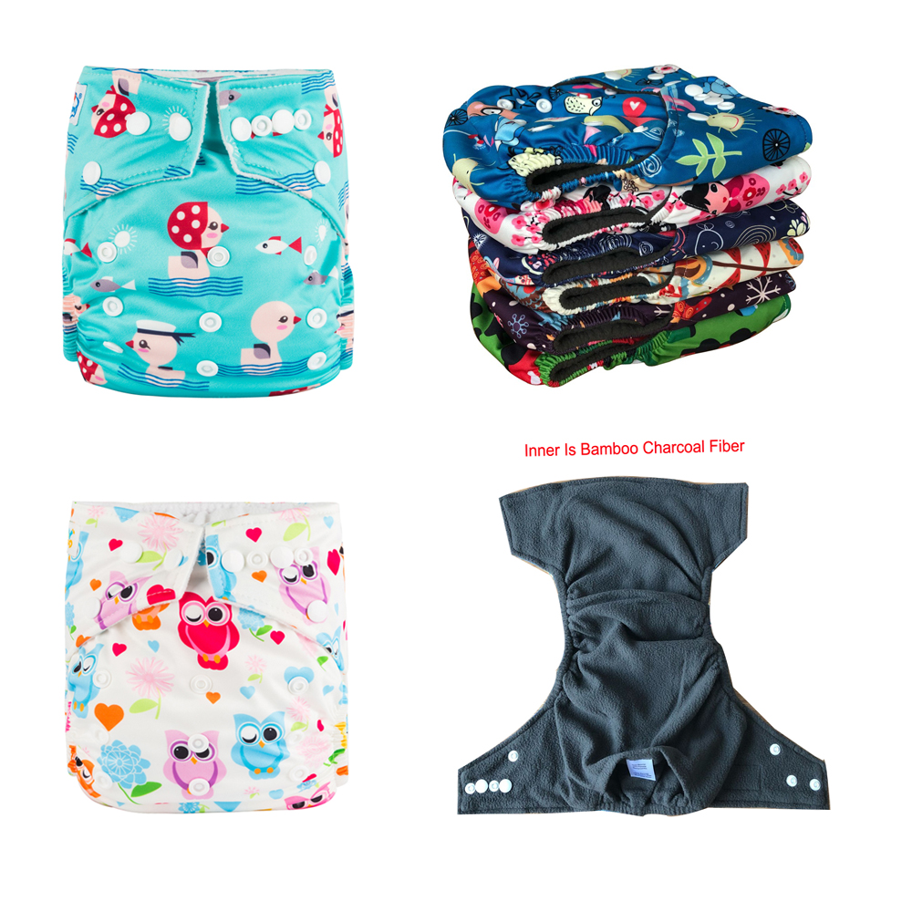 [ 5.1 Pomotion] Baby Bamboo Charcoal Diaper Covers 2pcs +2pcs Bamboo Charcoal Inserts Five Layers For Pocket Nappy Free Shipping