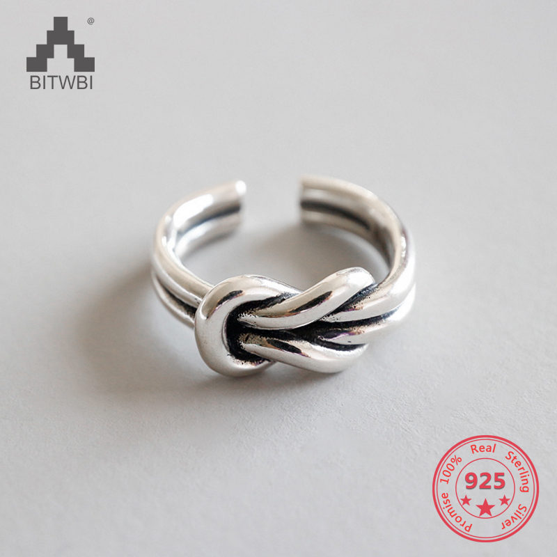 S925 Sterling Silver Retro Old Thai Silver Thick Double Knotted Knot Open Ring