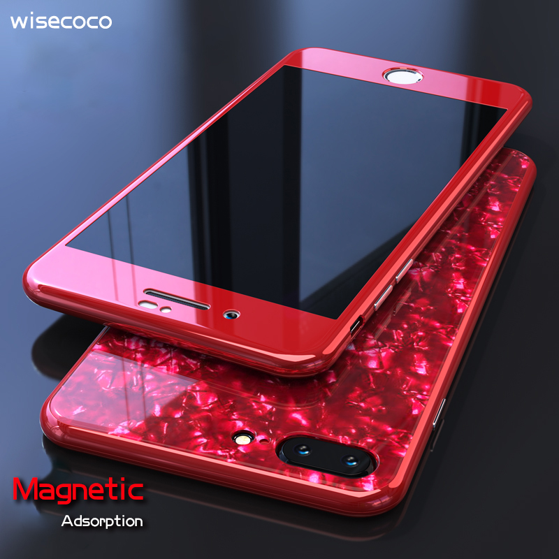 Luxury Magnetic Adsorption Case For iPhone X Case For iPhone 6 6s 7 8 Plus Flip Tempered Glass Magnet Cover For iPhone 7 8 X 10