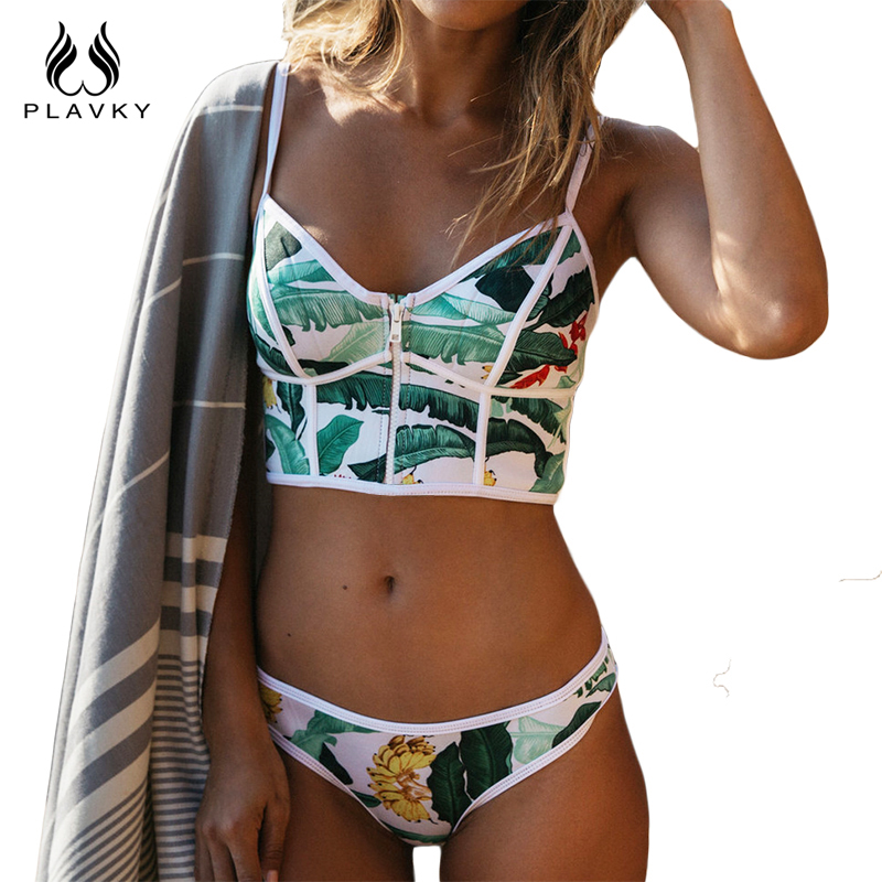 2017 Sexy Floreale Biquini Perizoma Zipper Collo Alto Swim Costume Da Bagno Plus Size Donne Dello Swimwear Bikini Brasiliano Push Up Costume Da Bagno