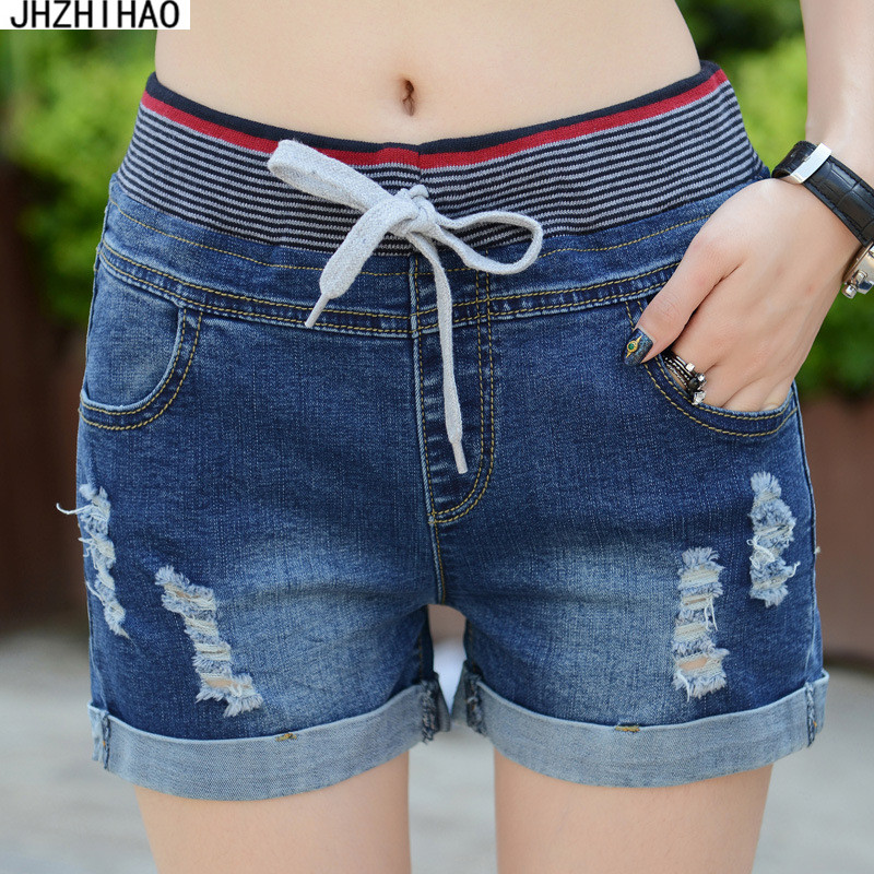 2017 sexy   short   feminino Casual High Waist   Shorts   Women High Waisted Denim   Shorts   Elastic Waist Jeans   Shorts   Plus Size