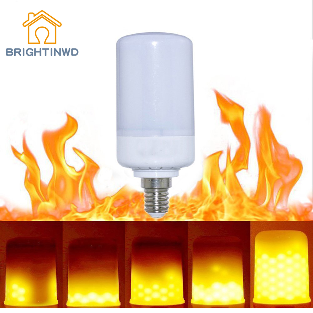 BRIGHTINWD New LED Simulation Dynamic Flashing Flame 5W Corn Candle Torch Torch Flame Bulb