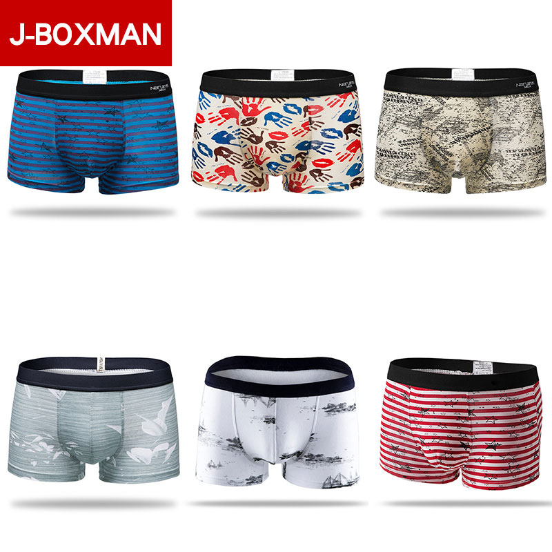 J-BOX Sexy Striped Men Cotton Panties Boxer Male Underwear Solid Mens Shorts Breathable shorts 3XL