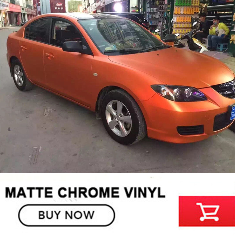 1 52x20m Roll OPLARE Orange Matte Chrome Vinyl Car Wrap Film High Quality Vinyl Wrap Self
