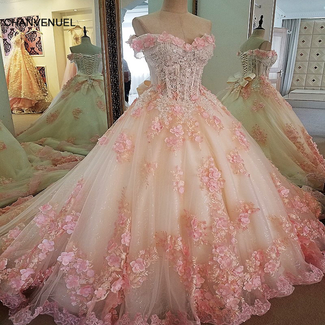LS00071  evening dresses long flowers lace up back vestido longo de festa elegant ball gown evening dress real photos 2018