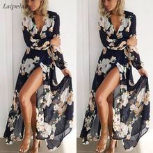 Long Dress Floral Summer Maxi 2XL Plus Size Vestido Boho Bohemian Women Beach Dresses Ladies