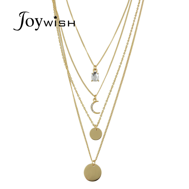 cc98ca6444 Multi Layer Chain Necklace Gold-color Chain With Moon Round Crystal Pendant  Necklace Female Jewelry