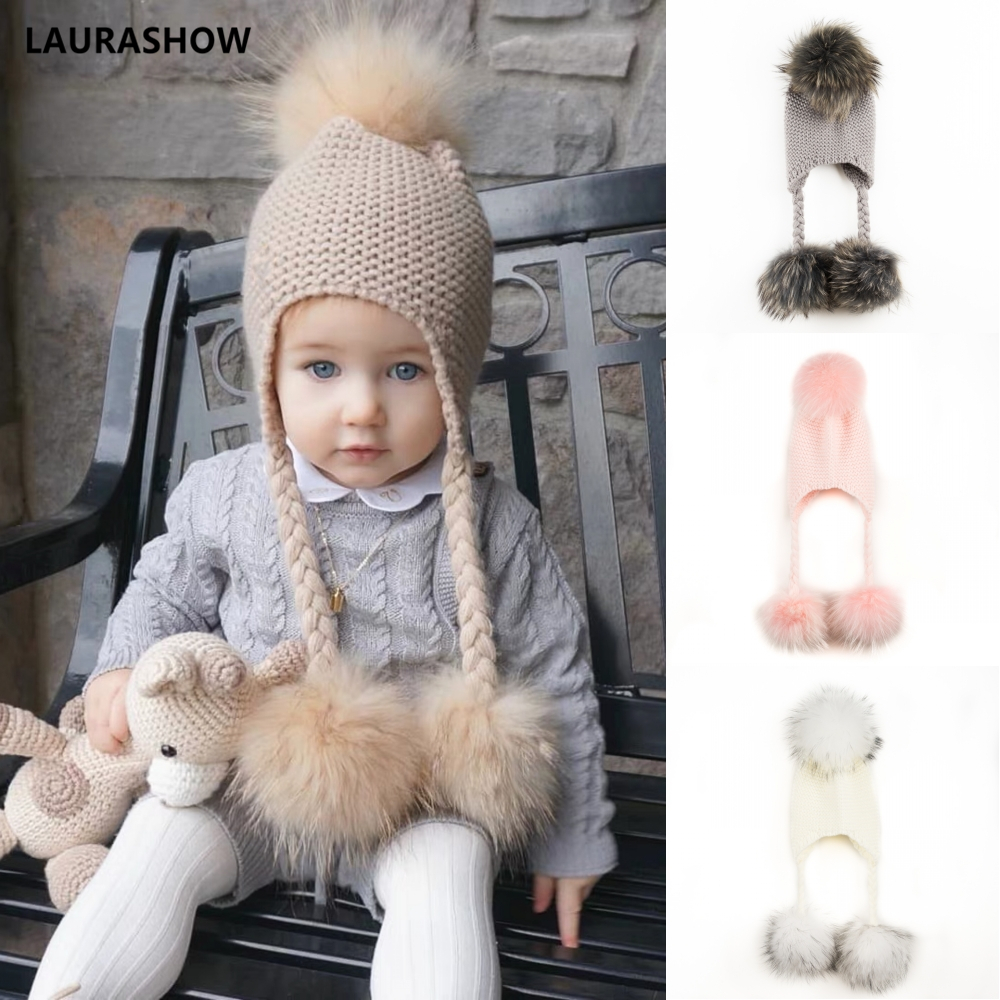 Image 2 - LAURASHOW Winter Kids Real Mink Raccoon Fur Ball Pompoms Hat Children Knitted Girls Boys Warm Cap Baby Beanies Wool-in Men's Skullies & Beanies from Apparel Accessories