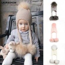 Laurashow inverno crianças real vison guaxinim pele bola pompons chapéu crianças de malha meninas meninos quente gorro do bebê lã