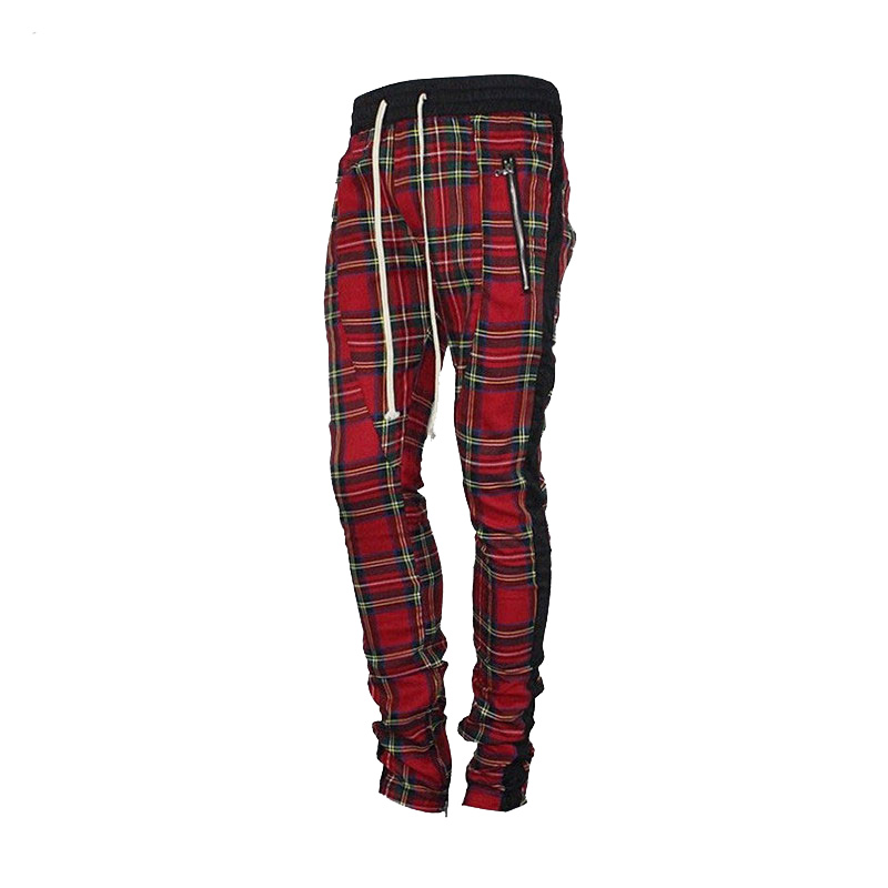 Scottish Lattice Joggers Sweatpants Men 2018 Justin Bieber Vintage Mens Joggers Pants Hip-hop Ankle Strap Zip Plaid Track Pants(China)