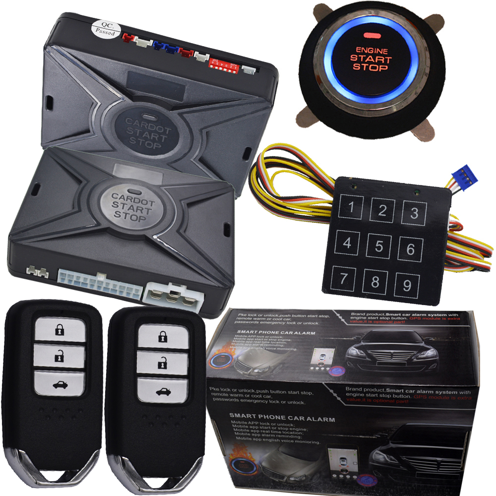 remote engine start pke car alarm system smart key lock or unlock automatically push start button password emergency unlock smart haa flip key pke car alarm system push start remote start stop engine auto central door lock with shock sensor