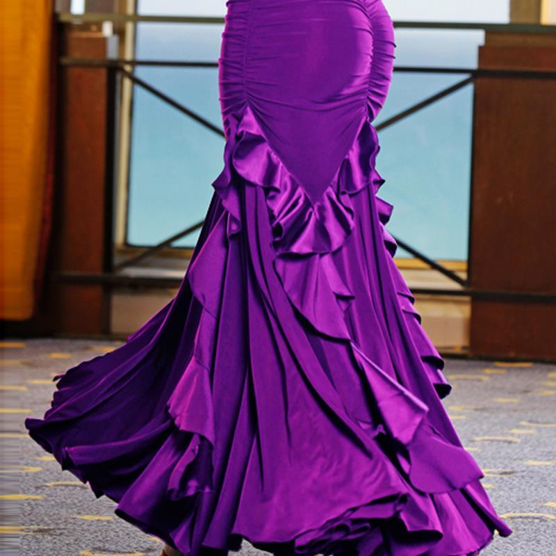 women red performance ballroom dance skirts for women standard flamenco black purple girls clothes long white gypsy skirt