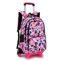 2017 Hot Sales Removable Children School Bags With 2 3 Wheels For Girls Trolley Backpack Kids