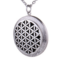 Antique Silver Aromatherapy Essential Oil Diffuser Necklace Flower of Life Lockets Pendant Long Necklace with Gift Pouch(China)