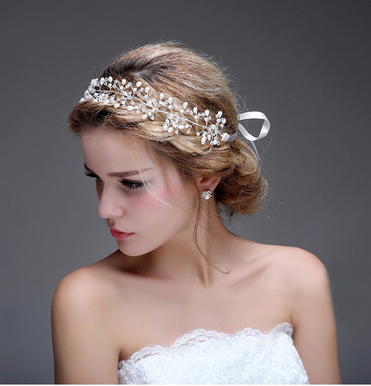 Stunning Rhinestone Pearl Wedding Hair Jewelry Vine Handmade Bridal Headband Silver Tiara