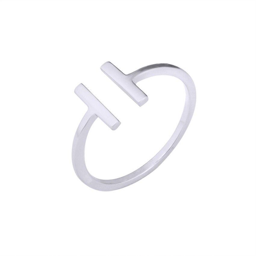 Wholesale 10pcs/lot Simple Design Gold Color Double Bar Open Rings For Women Bague Femme Adjustable Geometric Copper Rings Men
