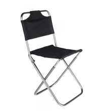 FAAJ Good Deal Portable Folding Aluminum Oxford Cloth Chair Outdoor Fishing Camping with Backrest Carry Bag Black